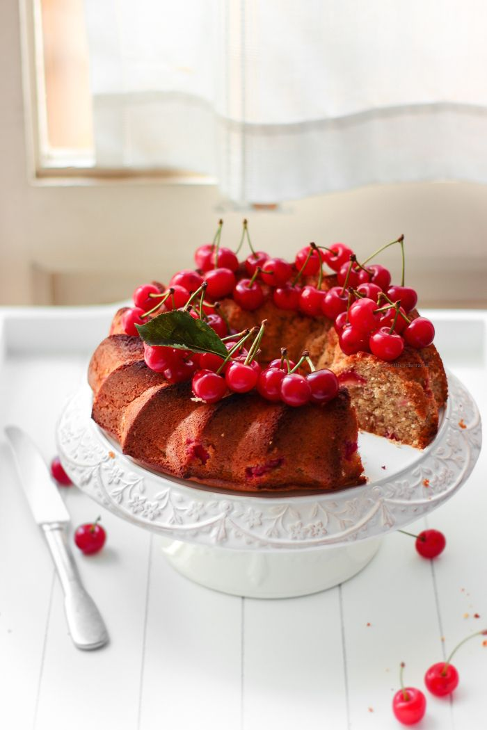 Barley Flour Almonds Honey And Sour Cherries Sugarfree Bundt Cake Ciambella Di Orzo
