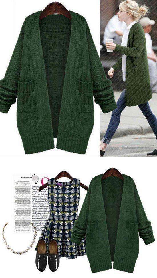 Fashion Green Sweater Coats Casual Knitted Long Cardigan