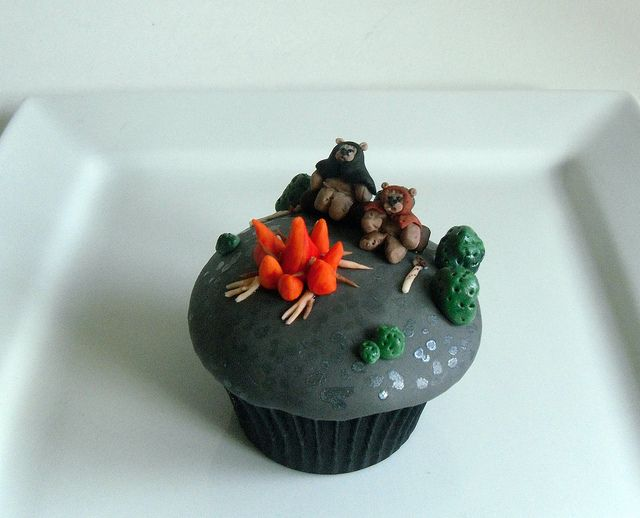 Ewoks at fire camp cupcake by Kiss And Bake Up, via Flickr