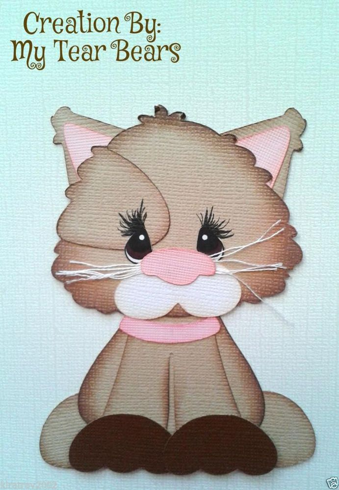 SCRAPBOOK PAPER PIECING BROWN PINK KITTY CAT BY MY TEAR BEARS KIRA