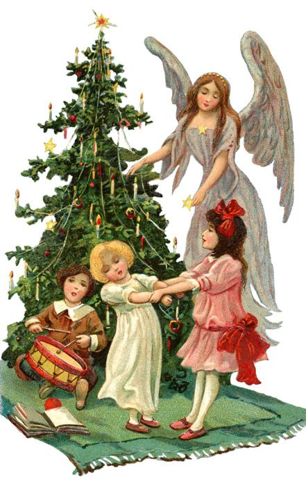 Vintage Christmas Angel with Children * 1500 free paper dolls Christmas gifts artist Arielle Gabriels The International Paper Doll Society also free paper dolls The China Adventures of Arielle Gabriel *