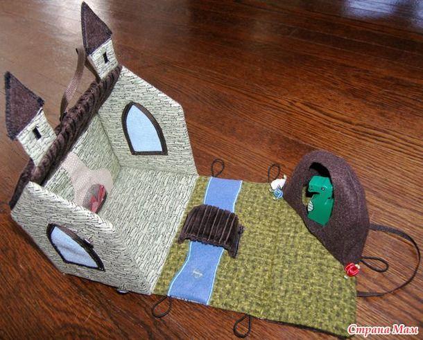 Открытка домик своими руками из ткани для детей и игрушки внутри, профессиональный