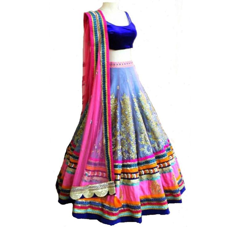Slub+Dupion+Machine+Work+Grey+Semi+Stitched+Lehenga+-+27513 at Rs 1580