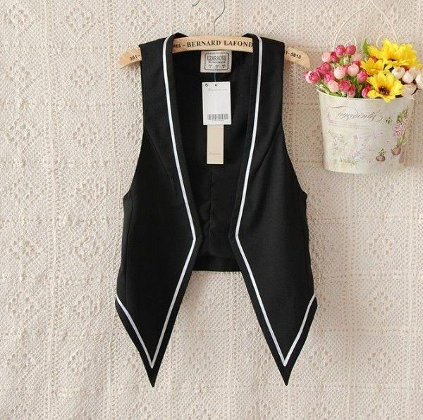 cheap women's black waistcoat