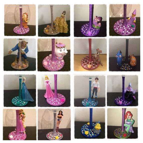Disney Character Glitter Wine Glass by FrogmellaCreations on Etsy