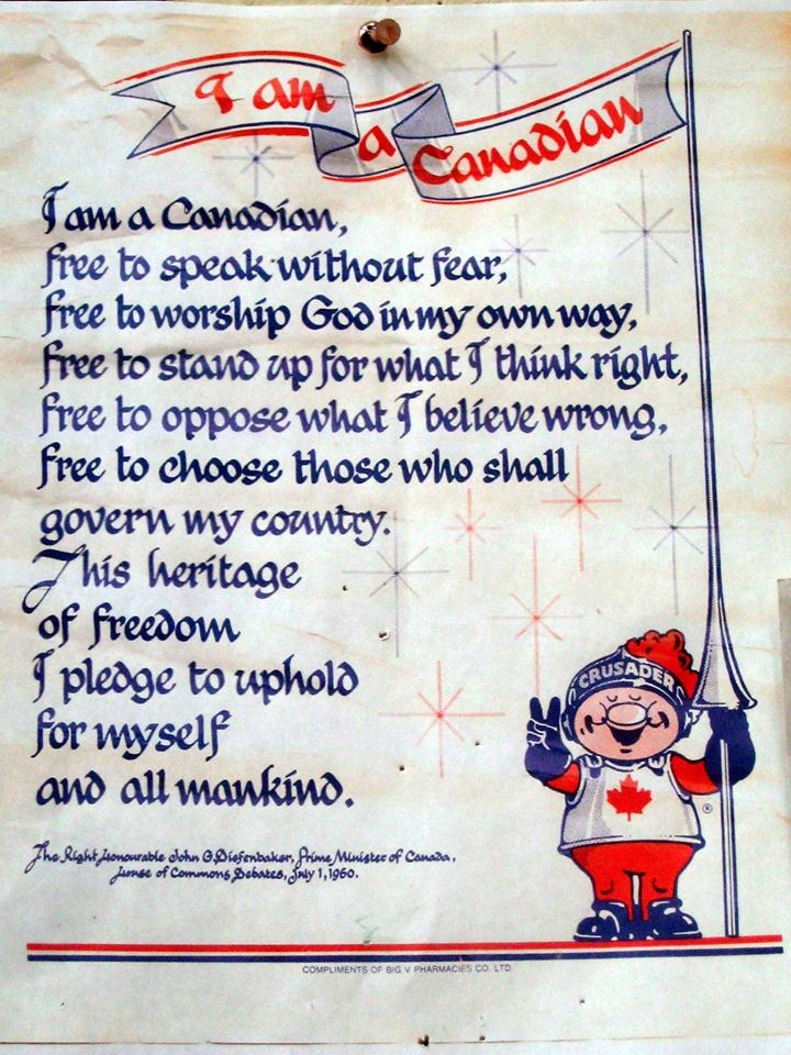 "July 1, 1960 | ""I am a Canadian, free to speak without fear, free to worship God in my own way, free to stand up for what I think right, free to oppose what I think wrong, free to choose those who shall govern my country. This heritage of freedom I pledge to uphold for myself and all mankind.""  ~ John G. Diefenbaker"