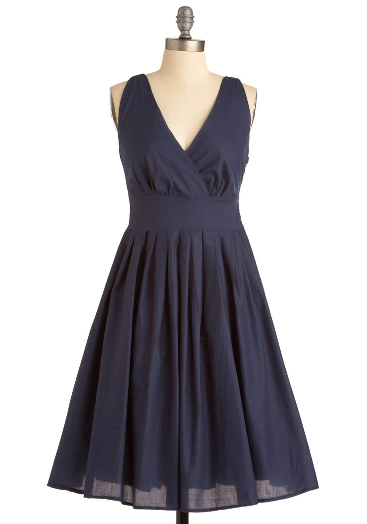 Glamour Power to You Dress in Navy - Blue, Solid, Pleats, A-line, Sleeveless…