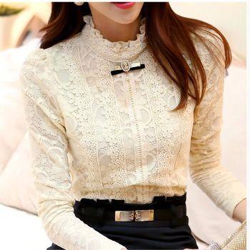 New 2014  Hot women tops Women Clothing  fashion Blusas Femininas Blouses & Shirts Fleece Women Crochet Blouse Lace Shirt 999
