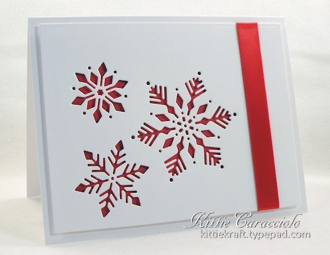 handade card ... CAS Snowflake Cutouts ... white with deep red showing throught the negative space die cuts ... gorgeous!!