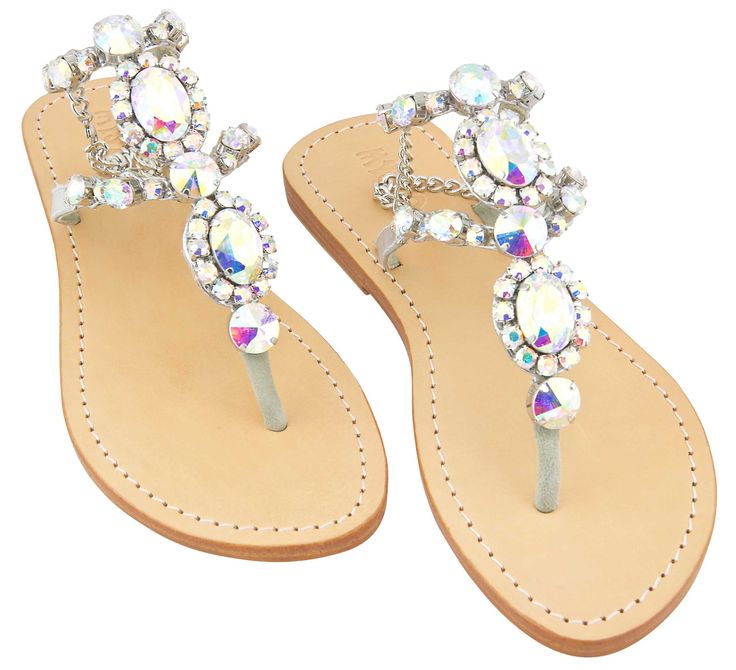 citrus has donated these Mystique Crystal AB Silver Stone Sandals to our raffle!