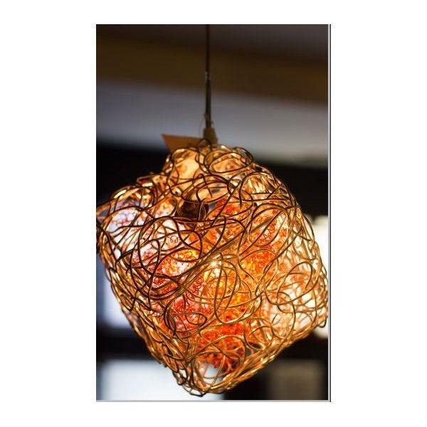 Exotic square shaped hanging light with orange color having mesh style that is emits beautiful illumination.
