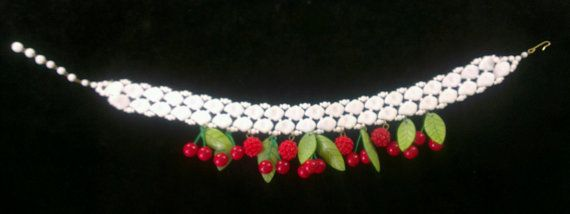Milk Glass Cherry & Raspberry Choker  Perfect by NewLookVintage, $650.00