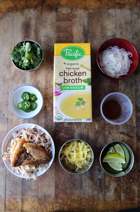 Yummy and easy! Cubed chicken and cooked right in broth. Also cooked rice noodles in broth. Added green onion, spinach and cilantro at very end. Cooked jalapeno in broth too but it just mushed up and made some bites too hot. Just add a few red pepper flakes. Adding more chicken broth is good idea.