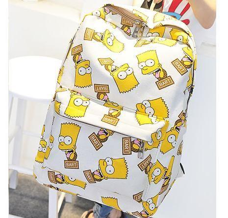 Милый мультфильм холст барт симпсон рюкзак школьные сумки для подростков рюкзак женский rusksack Опрятный Стиль Школьные Рюкзаки 271 т