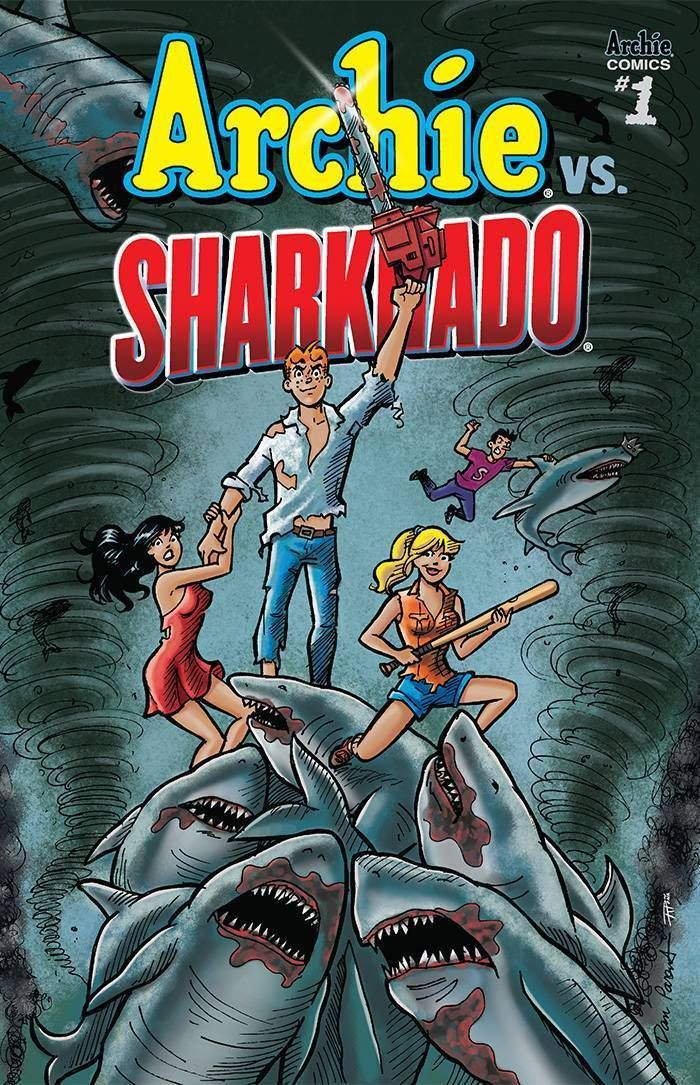 Archie vs Sharknado #1 (2015). One shot (regular cover.)  Cover art: Dan Parent & Rich Koslowski.  Sharks on Comic Book Covers!