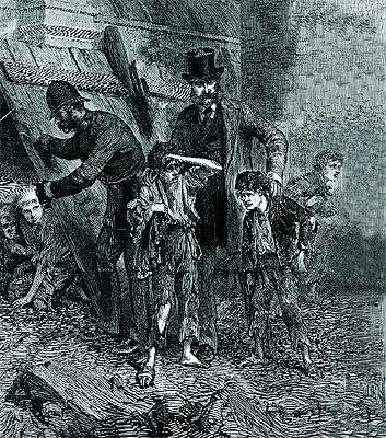 Imagenes Victorianas: UN POLICIA REPRENDE A UN NIÑO POBRE QUE JUEGA EN L...