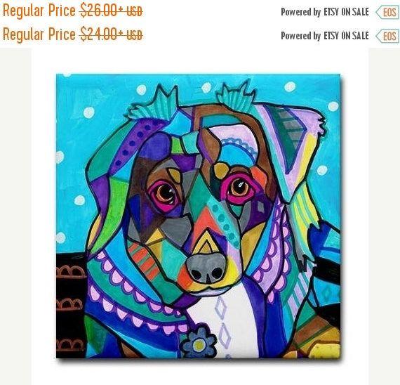 50% Off Today- Australian Shepherd art Tile Ceramic Coaster Mexican Folk Art Print of painting by Heather Galler dog (HG674)