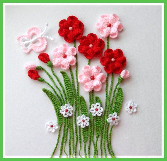 Crochet apliques flores y hojas Set flores de por CraftsbySigita                                                                                                                                                                                 Más