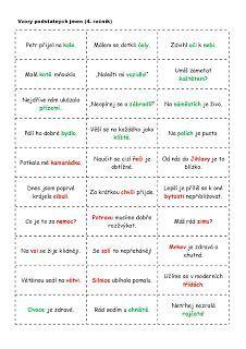 Školní hrátky: Vzory podstatných jmen-karty pro párovou práci