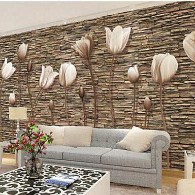 2017年 アールデコ調 3D ホームのための壁紙 現代風 ウォールカバーリング , キャンバス 材料 接着剤必要 壁画 , ルームWallcovering 5549809 コレクション – ¥10,339