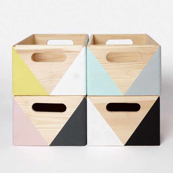 Bring adorable design to your home with this decorative geometric wooden storage crate from Happy Little Folks. Its ideal for holding little bits and pieces (---> our wooden blocks naturally!) in childrens room, use it on the desk to house a pen pot, stapler, post-it notes or on the workspace, bookcase or shelf. Theyre just adorable!  Each box has been carefully hand painted. Bold geometric shapes have been created by using non toxic, water based paint and sealed with non toxic varnish…