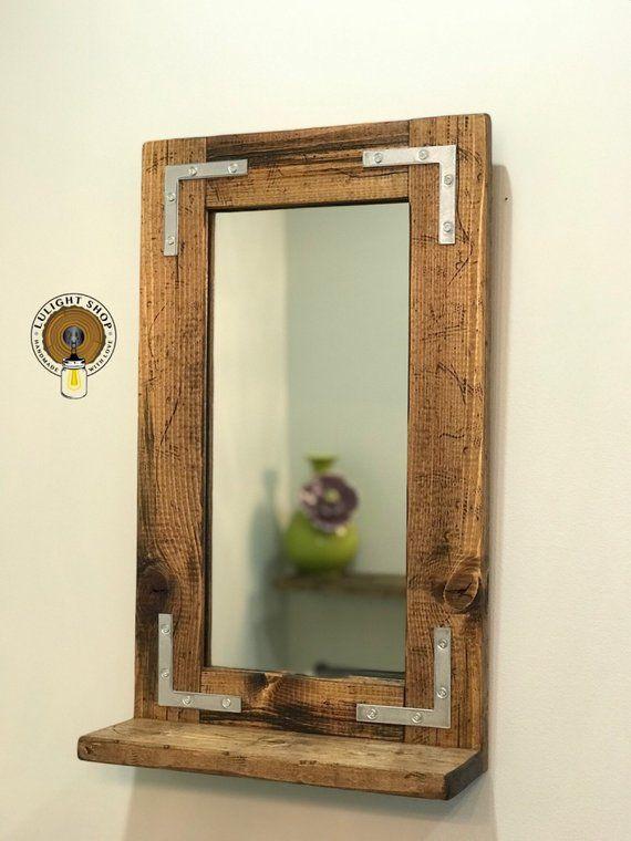 Rustic Distressed Mirror With Shelf Small Mirror Bathroom Mirror