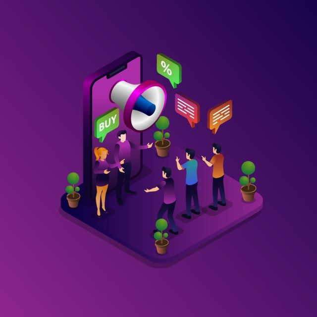 Digital Marketing Isometric Concept With Megaphone Isometric Digital Marketing Png And Vector With Transparent Background For Free Download Digital Marketing Design Marketing Poster Digital Marketing
