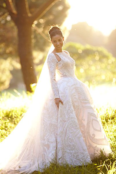 'I wanted my dress to be more of a couture runway piece than a wedding gown,' says Joanne, who opted for J'Aton. Image: Blumenthal Photography