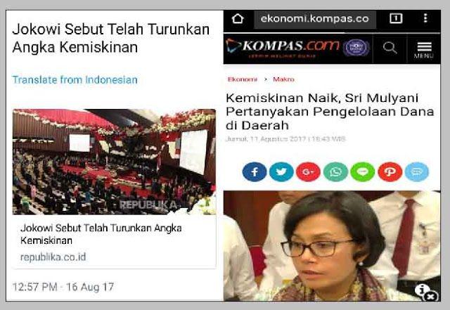 Berita Islam ! Bingung Sri Mulayni Heran Kemiskinan Naik Jokowi Sebut Telah Turunkan Angka Kemiskinan... Bantu Share ! http://ift.tt/2wYQNxR Bingung Sri Mulayni Heran Kemiskinan Naik Jokowi Sebut Telah Turunkan Angka Kemiskinan  Menteri Keuangan Sri Mulyani menilai masalah utama di Indonesia bukanlah persoalan ada uang atau tidak. Sebab setiap tahun pemerintah pusat menggelontorkan lebih dari Rp 700 triliun dana ke daerah dan desa. Namun ia mempertanyakan efektivitas penggunaan anggaran oleh…