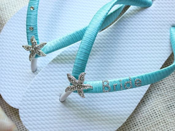 Aqua wedding shoes bride flip flops silver by BeachWeddingParty