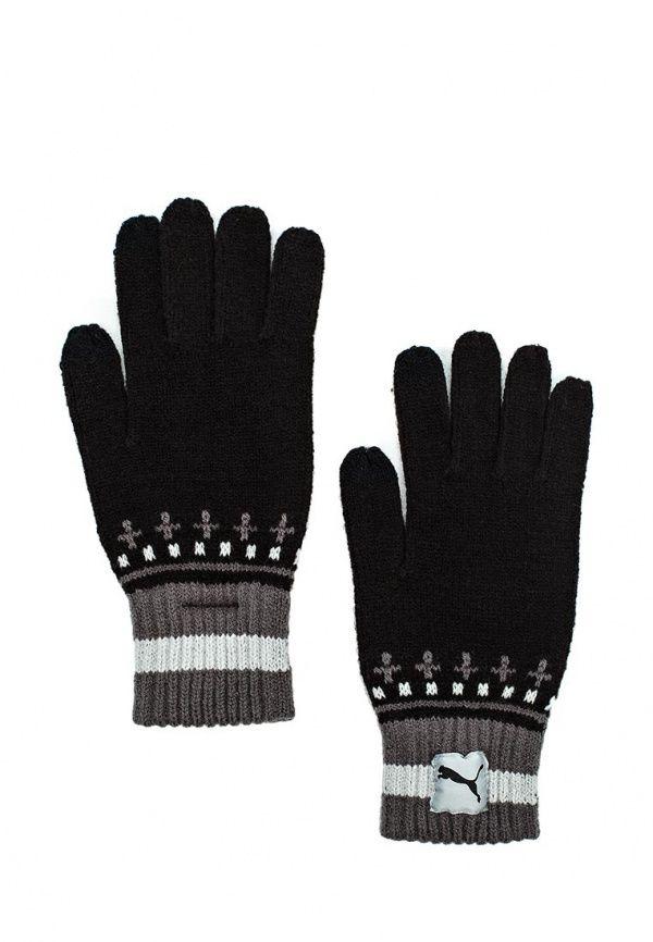 Перчатки Puma PUMA Home Knit Gloves Puma Black-Asphalt Перчатки Puma. Цвет: черный.  Сезон: Осень-зима 2016/2017. Одежда, обувь и аксессуары/Женская одежда/Перчатки