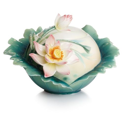 Lotus Harmony Porcelain Sugar Jar from the Franz Collection