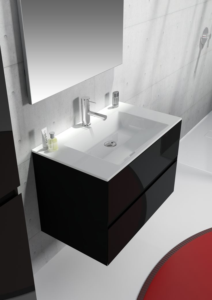 Fresh Black High Gloss Bathroom Wall Cabinets