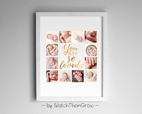 Quote Baby Photo Collage Faux Rose Gold Foil Print, Personalized Printable Nursery, Gold Foil or Rose Gold, 8x10 or 11x14 DIGITAL FILE