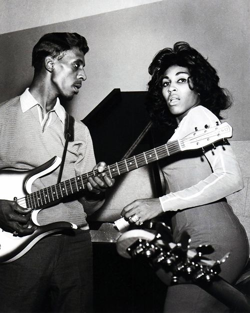 Ike (with a Danelectro guitar) and Tina Turner. Photo by Gilles Petard…