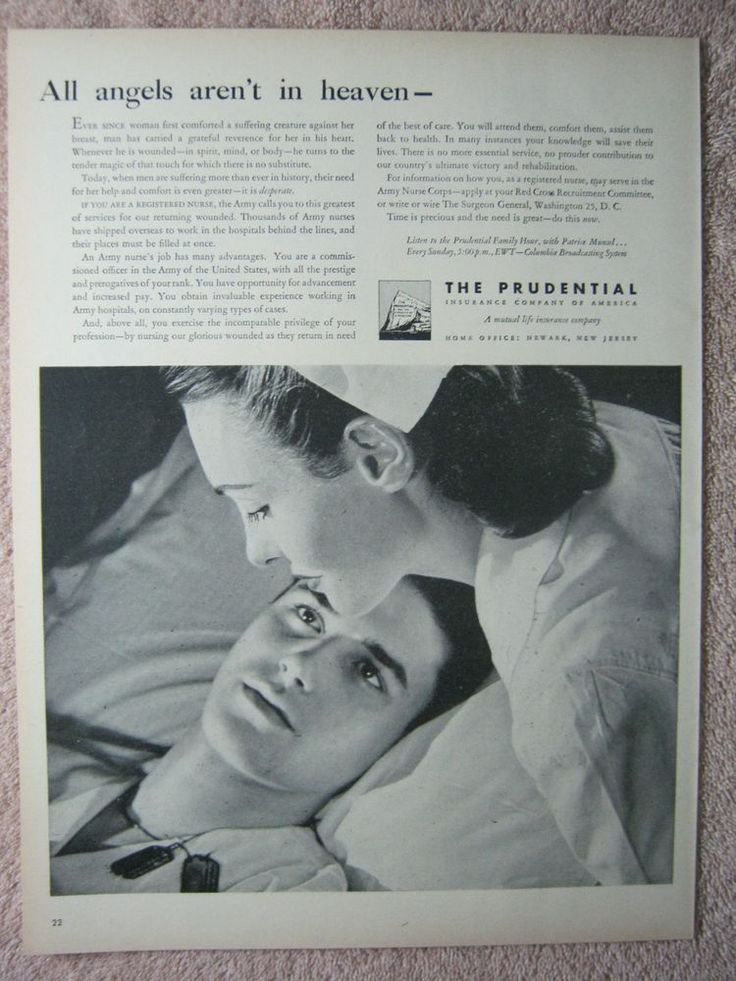 1945 Vintage Prudential Insurance Wounded Soldier Veteran Pretty