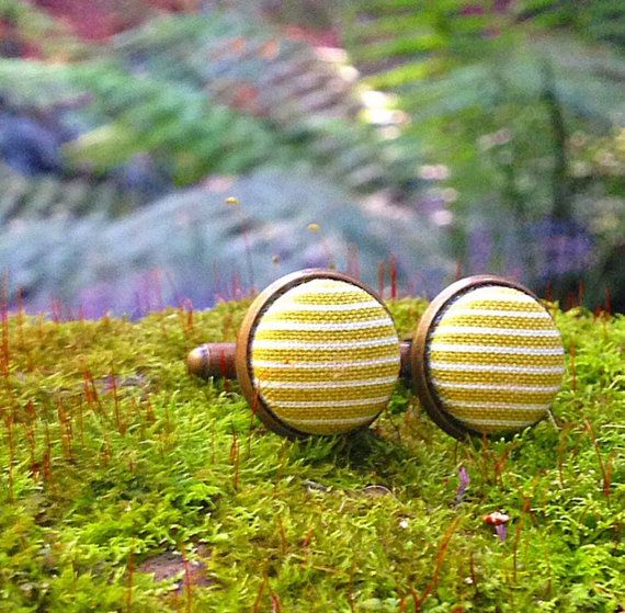Cuff Links  green stripes  one pair by Zoes Button Emporium on Etsy and available at the #etsymadelocal Markets, Canberra.