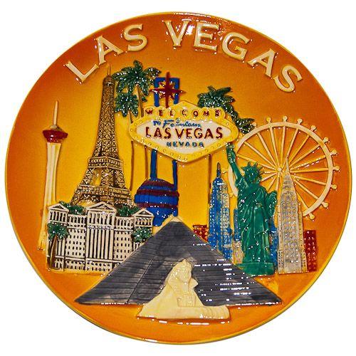 Souvenir Plate: United States. Nevada. Las Vegas. Collage (Yellow)