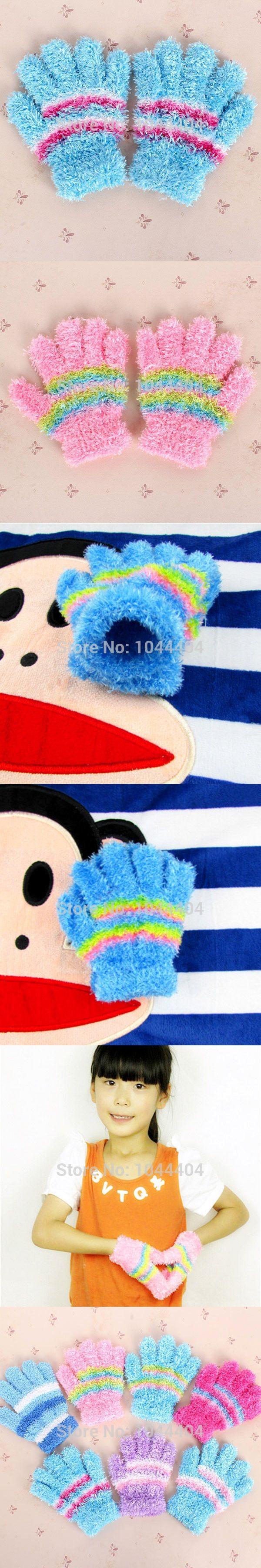 Multi-Color Unisex Kids Warm Winter Gloves Toddler Striped Mittens