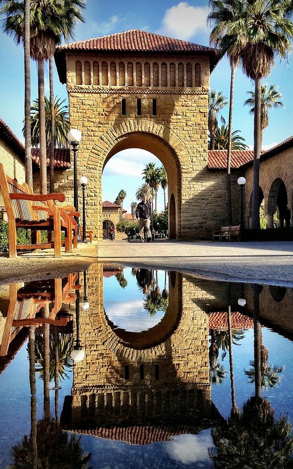 go fountain hopping at Stanford University