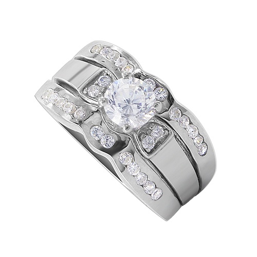 TDRS149 5mm Round Clear CZ 10mm Front 5mm Band Engagement Ring Size 5 to 10 | eBay