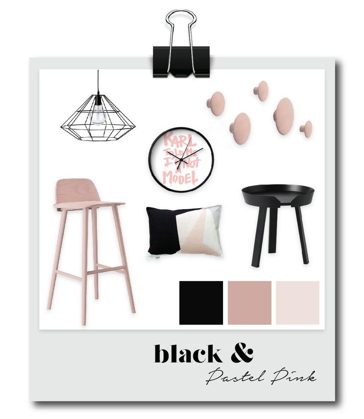 Black and Pastel Pink Mood Board depicting our modern furniture and homewares with a Danish and Scandinavian influence.