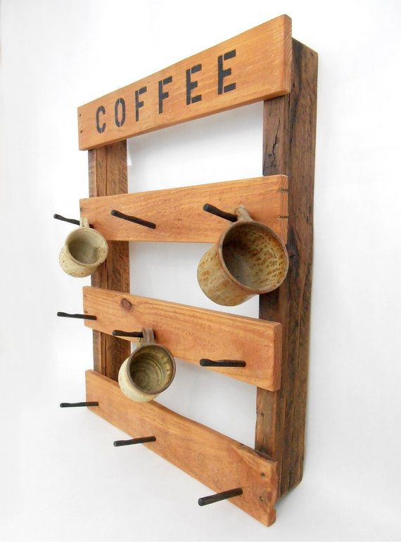 Our Rustic Coffee Mug Rack Is Made From Pallet Wood And Stained With Cherry Tinted Danish Oil It Has 9 Slanted Black Wooden Pegs To Hang Your Mugs