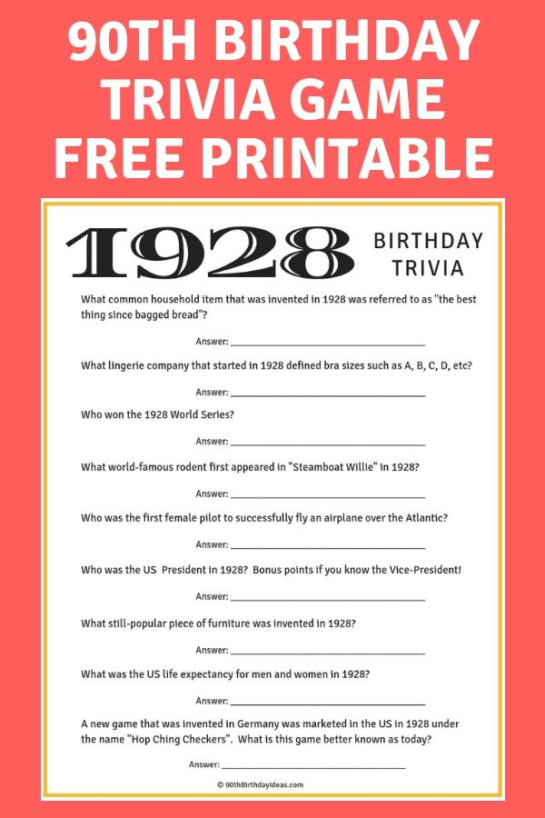 Free 90th Birthday Game