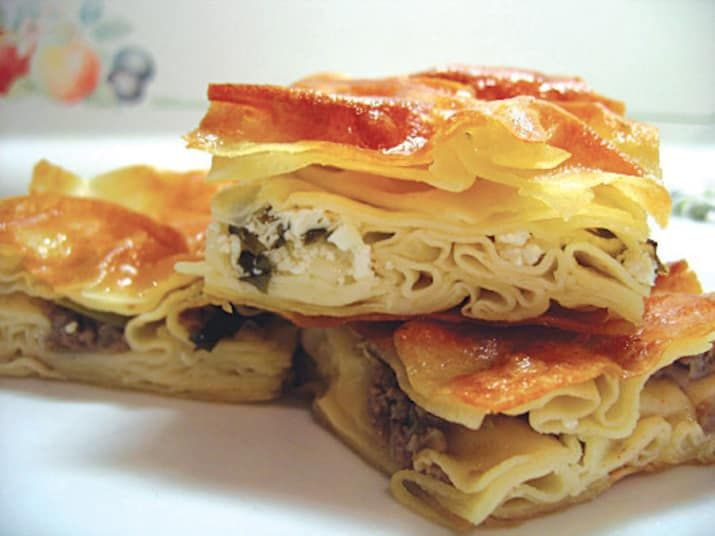 This variation of börek is a strange and amazing cross between lasagna and pastry. Su böreği (or water börek) is made from dough softened and cooked in milk and eggs. Stuffed with cheese and spinach, it's a moist and filling snack.