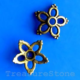 Bead cap, antiqued brass finished, 14mm. #TreasureStone Beads Edmonton. www.TreasureStoneBeads.com