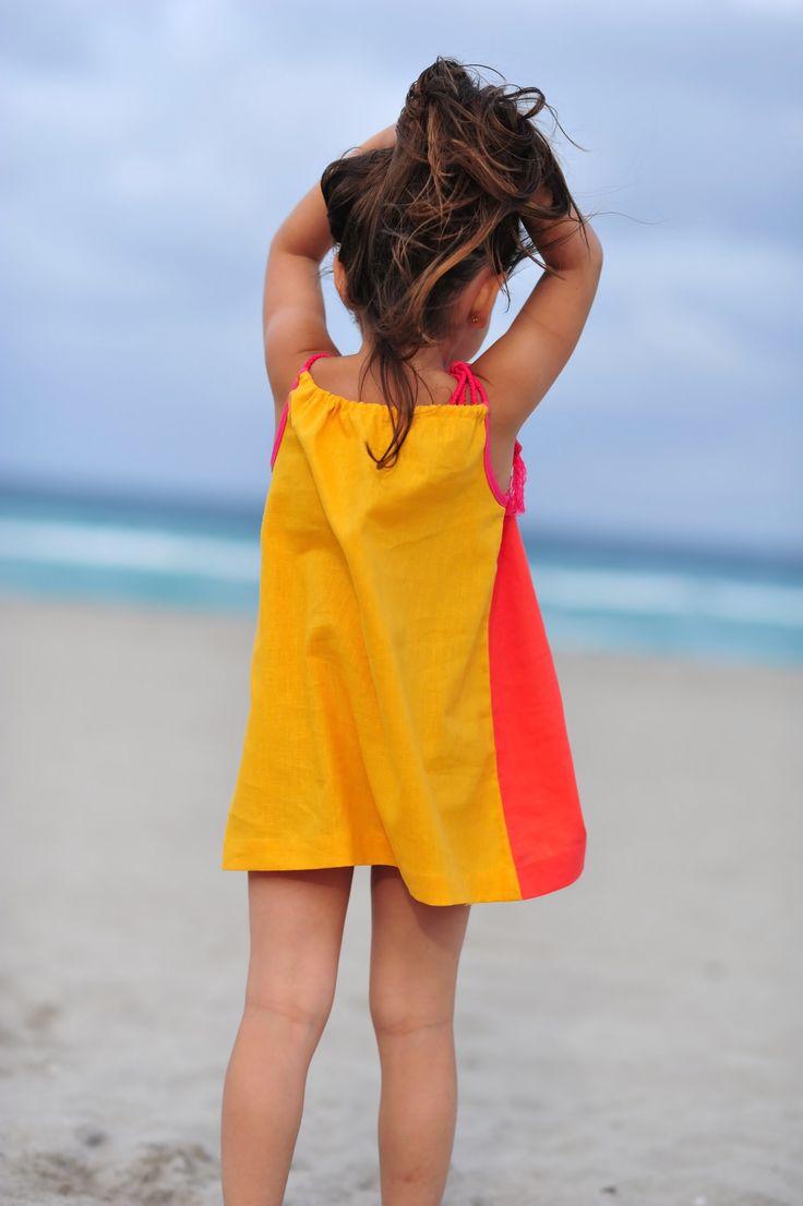 Loire Style Dress- Yellow/Orange Linen blend... handmade tassels... http://www.creamcoralcollection.com/girl-dresses-s/1827.htm