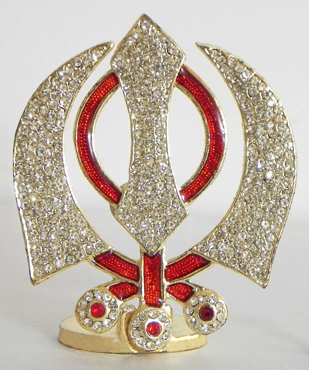Stone Studded on Gold Plated Khanda - Sikh Symbol (Metal ...