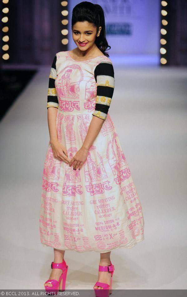 Alia Bhatt walks the ramp for fashion designer Masaba on Day 1 of the Wills Lifestyle India Fashion Week (WIFW) Spring/Summer 2014, held in Delhi