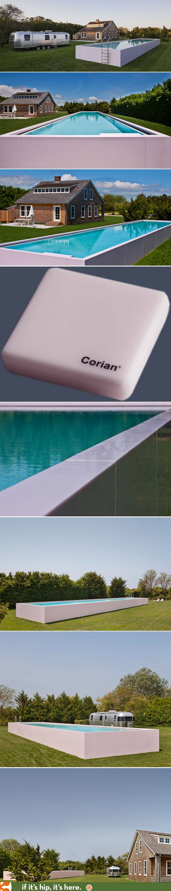 A pale pink Corian clad swimming pool in Sagaponack